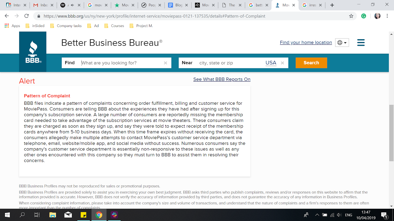 Better Business Bureau review page